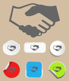 Handshake icon with stickers. Vector. Illustration Stock Photography