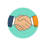 Handshake icon vector. Handshake icon. Background for business and finance. Symbol of a successful transaction. Vector illustration flat style design stock illustration