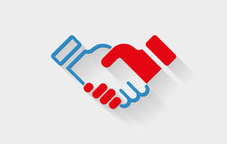 HandShake Icon. Vector handshake flat icon with long shadow. Elements are layered separately in vector file royalty free illustration