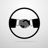 Handshake icon vector silhouette business hands Stock Image