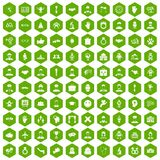 100 handshake icons hexagon green. 100 handshake icons set in green hexagon isolated vector illustration Royalty Free Stock Photos