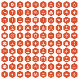 100 handshake icons hexagon orange. 100 handshake icons set in orange hexagon isolated vector illustration Royalty Free Stock Images
