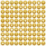 100 handshake icons set gold. 100 handshake icons set in gold circle isolated on white vectr illustration Vector Illustration