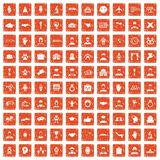 100 handshake icons set grunge orange. 100 handshake icons set in grunge style orange color isolated on white background vector illustration Royalty Free Stock Photography