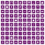 100 handshake icons set grunge purple Royalty Free Stock Photos