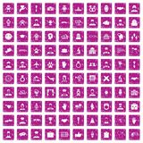 100 handshake icons set grunge pink. 100 handshake icons set in grunge style pink color isolated on white background vector illustration Royalty Free Stock Photos