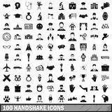 100 handshake icons set, simple style. 100 handshake icons set in simple style for any design vector illustration Stock Image
