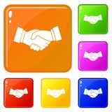 Handshake icons set vector color. Handshake icons set collection vector 6 color isolated on white background royalty free illustration