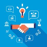 Handshake and icons for web Successful business concept. Vector illustration Royalty Free Stock Photos