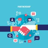Handshake and icons for web on world map background Successful business concept Stock Photography