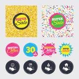 Handshake icons. World, Smile happy face. Royalty Free Stock Photography