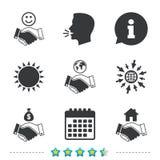 Handshake icons. World, Smile happy face. Stock Photos