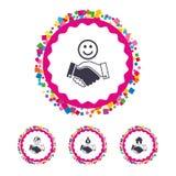 Handshake icons. World, Smile happy face. Stock Photography