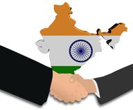 Handshake with India map flag Stock Photography