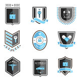 Handshake insurance badges Stock Images