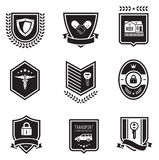 Handshake insurance badges Stock Photography