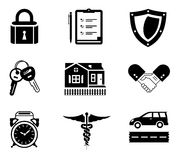 Handshake insurance icons Stock Image