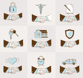 Handshake insurance icons Royalty Free Stock Image