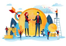 Handshake of the investors. Financing creative idea. Success concept. Businessman with gold coin. Start up project. Flat cartoon Royalty Free Stock Image
