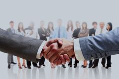 Handshake isolated on business background. stock image