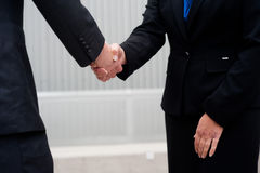 Handshake isolated on business background Stock Photos