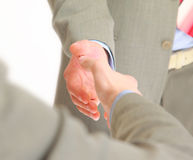 Handshake isolated on white Royalty Free Stock Photo