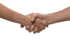 Handshake isolated on a white Stock Images