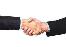 Handshake isolati sulla foto concettuale bianca Fotografia Stock