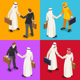 Arab Handshake Isometric People. International Business Hand Shaking Infographic. Businessman Meeting Negotiation and Agreement Arab Middle East Ethnicity.Flat Royalty Free Stock Photo
