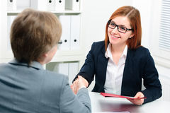 Handshake while job interviewing Royalty Free Stock Images