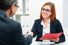 Handshake while job interviewing royalty free stock photo