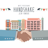 Handshake, Joint venture (White Background). Vector illustration of Handshake, Joint venture (White Background Stock Photography