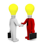 Handshake. Lamp business man 3d render Stock Photos