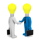 Handshake. Lamp business man 3d render Stock Images
