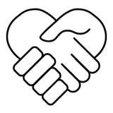Handshake line vector icon. Partnership and agreement symbol. Outline design. Handshake line vector icon. Partnership and agreement symbol. Outline design Stock Images