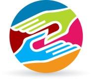 Handshake logo. Illustration art of a handshake logo with white background royalty free illustration