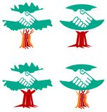 Handshake logo set. Isolated line art handshake logo set Stock Photo