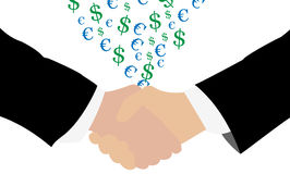 Handshake making money Stock Photography