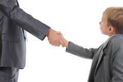 Handshake man and boy Royalty Free Stock Photos
