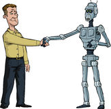 Handshake man and robot Stock Photos