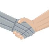 Handshake man and robot Royalty Free Stock Image