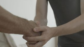 Handshake. Man thanked the worker for the work done.  stock photos