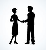 Handshake of man and woman. Vector drawing Stock Photo