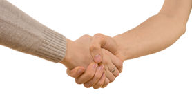 Handshake between a man and woman Royalty Free Stock Photo