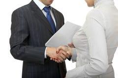 Handshake man and women. Stock Image