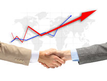 Handshake with map of the world Royalty Free Stock Images