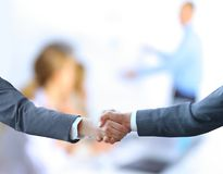 Handshake with map Stock Photo