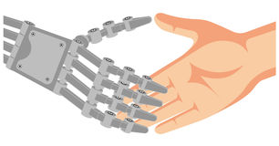 Handshake mechanical hand of the robot and hand of the person Stock Image