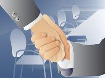 Handshake meeting room. Illustration of businessmen shaking hands with meeting room background royalty free illustration