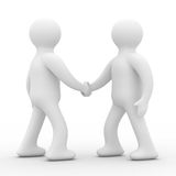 Handshake. Meeting two businessmen. Isolated 3D image Royalty Free Stock Photo